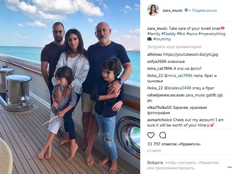 Певица Зара с семьей: отцом, братом и детьми.